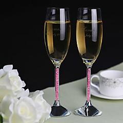 персонализированные тостов флейты розовый бриллиант хвостовик - комплект из 2