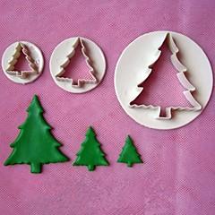 3db karácsonyfa nyomólemez fondant torta modellek