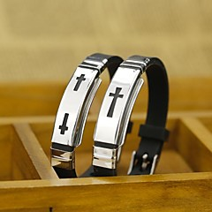 Stainless Steel Cross Silicone Bracelet (A Cross Or Two Cross)