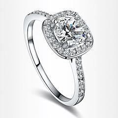 Dame uttalelse Ringe Forlovelsesring Kjærlighed Europeisk Brude kostyme smykker Zirkonium Kubisk Zirkonium Sølvplett Gullbelagt