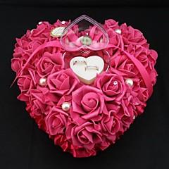 צורת לב עלתה כרית תיבת טבעת פנינת פרח לחתונה (26 * 26 * 13cm) חתונה אלמוגים