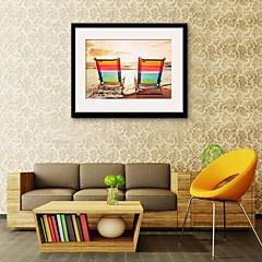 Landschaft Gerahmtes Leinenbild / Gerahmtes Set Wall Art,PVC Schwarz Passpartout inklusive Mit Feld Wall Art