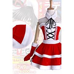 Inspiriert von Date A Live Kurumi Tokisaki Anime Cosplay Kostüme Cosplay Kostüme / Kleider Patchwork Weiß / Rot ÄrmellosKleid / Hut /