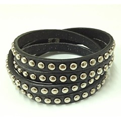 Gift Handmade Punk Bracelet Bling Rhinestone Wrap PU Leather Bracelets Bangle
