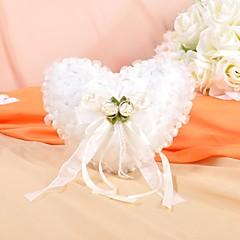 dejlige blomster og perle dekoration glat satin vielsesring pude