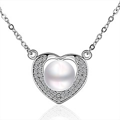 Xu Women's Pearl / Gold-Plated Diamonds Heart-shape Anniversary / Wedding / Engagement / Gift / Party Necklace