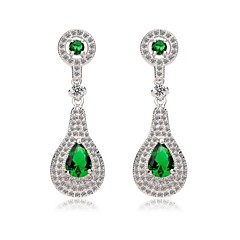 패션 화이트 골드 긴 CZ 드롭 귀걸이, 녹색 및 청색 완벽한 컷 큐빅 지르콘 귀걸이 (더 많은 색상) 여성 도금