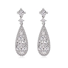 Classic And Elegant Women Fashion Long Dangle Plated Water-Drop CZ Diamond Crystal Drop Earrings GiftsImitation Diamond Birthstone