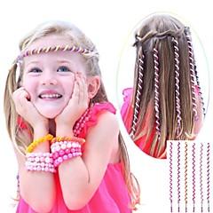 חבל השיער המתולתל 6pcs 24cm ילדים הוורודים