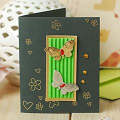 לא מותאם אישית מקפלי צד הזמנות לחתונה כרטיסי Thank you-1 יחידה / סט סגנון פרחוני כרטיס נייר ריינסטון