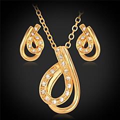 U7® Heart Pendant Necklace Stud Earrings Cute 18K Real Gold Plated Crystal Elegant Fashion Jewelry Set