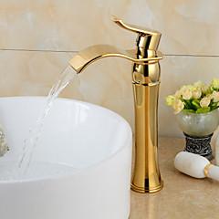 fashionable guldbelagt messing badeværelse bassin hane - guld