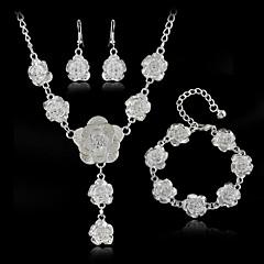 סט תכשיטים לנשים יום שנה / חתונה / ארוסים / יום הולדת / מתנה / יומי / אירוע מיוחד סטי תכשיטים סגסוגת שרשראות / צמיד / עגילים לבן