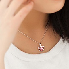 Ladies' Silver Heart-Shaped OL Cubic Zirconia Pendant