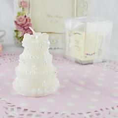 klassiske bryllupskage stearinlys i hvid-sæt 4stk