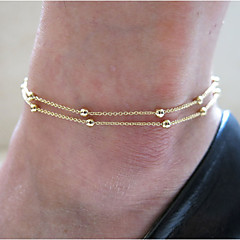 Beads Anklet Bracelet Foot Beach Jewelry (Golden,1 pcs)