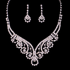 Alloy Hollow Wedding/Party Jewelry Set With Rhinestone