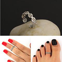 regulowany antyczne srebro rocznika kwiat Pierścień Pierścień palców stóp ciało biżuteria plaży