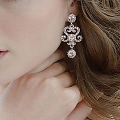 Vintage Party Wedding Princess Birde Crown Rhinestone Crystal Drop Silver Earring