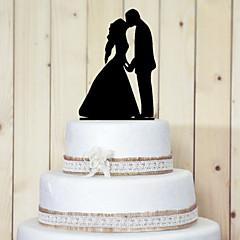 Kakepynt Ikke-personalisert Klassisk Par Akryl Bryllup / Jubileum / Bridal Shower Svart Hage Tema 1 OPP