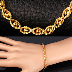 U7® Unisex 18K Real Gold Plated New Trendy Gold Little Beads Fancy Party Chain Bracelet Necklace Set