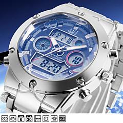 ASJ Herre Sportsklokke Armbåndsur Japansk Quartz LCD Kalender Kronograf Vannavvisende Dobbel Tidssone alarm Rustfritt stål Band Luxury