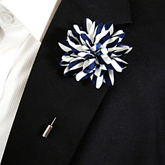 Men's Casual Blue And White Silk Goods Brooch