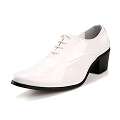 Men's Spring Summer Fall Winter Patent Leather Office & Career Casual Party & Evening Chunky Heel Lace-up Black Red Ivory