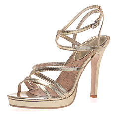 Women's Shoes Leatherette Spring / Summer / Fall Slingback Wedding / Party & Evening Stiletto Heel Buckle Silver / Gold