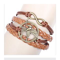 Women's European Style Retro Fashion Notes Infinite Multilayer Woven Handmade Wings of Birds Bracelet