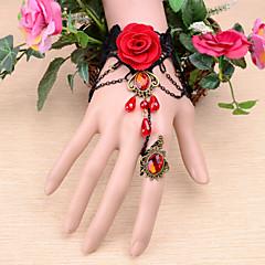 Vintage Red Flower Crown Gem Bracelet With Ring
