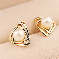 Korean Fashion Triangular Gold Earrings