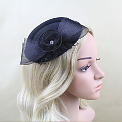 Women Satin/Net Western Style Bowknot Hats With Wedding/Party Headpiece Black