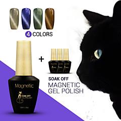 Azure 4Pcs/Lot  Magnetic Gel Polish Cat Eyes Magnetic Nail Gel Nail Polish Lacquer Soak off UV Gel (#87+#88+#89+#90)