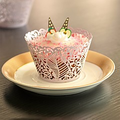 12pcs Leaf Laser Cut Cupcake Wrappers Muffin Cases Bridal Baby Shower Christmas Wedding Party Cake Decoartion