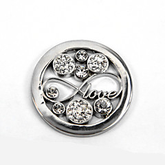 Valentine Day Gift Girl's 33mm Alloy Mi Moneda Silver Crystal Infinity Disc for 35mm Coin Holder Pendant