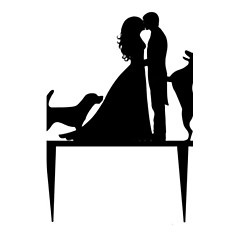 Tortadísz Nem személyre szabott Akril Esküvő / Évforduló / Menyasszonyköszöntő Fekete Kerti témák / Klasszikus téma 1 OPP