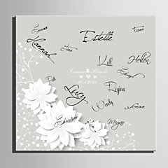 E-HOME® Personalized Signature Canvas invisible Frame Print-White Flowers