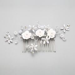 Vrouwen / Bloemenmeisje Licht Metaal / Imitatie Parel Helm-Bruiloft / Speciale gelegenheden Haarkammen 1 Stuk Wit Rond