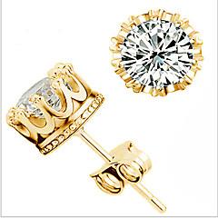 Damskie Kolczyki na sztyft minimalistyczny styl Modny Ślubny biżuteria kostiumowa Cyrkon Cyrkonia Crown Shape Biżuteria Na Ślub Impreza