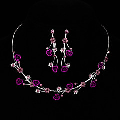 AAA Zircon Gem Rose Flower Shape Necklace & Earrings Jewelry Set