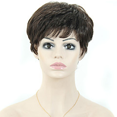 Női rövid, egyenes szintetikus haj paróka Pixie vágott paróka fekete haj
