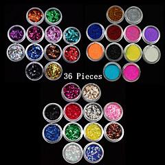 36pcs gemengde kleuren kleine delicate nail art glitter poeder nail art foliestrook poeder arylic poeder voor nagel decoraties