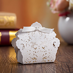 White Wedding Favor Boxes With Ribbon-Set of 12