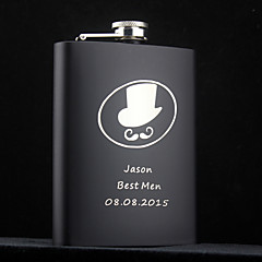 Personalized Stainless Steel Flask 8-oz Black Flasks