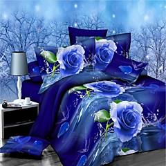 Blumen Polyester / Baumwolle 4 Stück Bettbezug-Sets