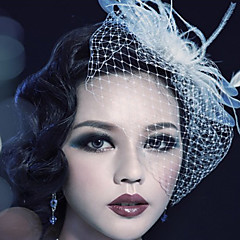 Women's Feather/Tulle Headpiece Birdcage Veils (Assorted Color)