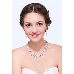 Takı Seti Kadın's Yıldönümü / Düğün / Nişan / Doğumgünü / Hediye / Parti / Günlük / Özel Anlar Mücevher Setleri Gümüş / alaşımYapay Elmas