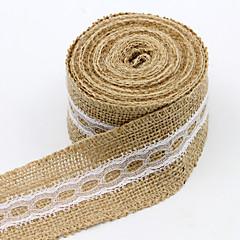 "4.5M 2"" (5 cm) Natural Jute Burlap Hessian Ribbon with Lace Trims Tape Rustic Wedding Decor Wedding Cake Topper"