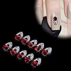 New Charming 10Pcs 3D Nail Art Red Crystal Alloy DIY Decoration Tips Rhinestones For Nails